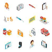 Conjunto de ícones do médico isométrico