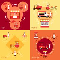 Street food flat set vector