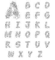 Letras del alfabeto de flores