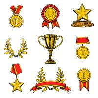 Iconos de premios establecidos de color