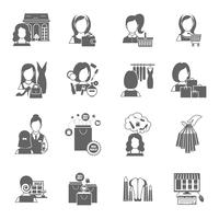 Vrouw winkelen pictogram zwart