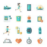Iconos de jogging plana