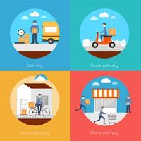 Conjunto de iconos de entrega plana