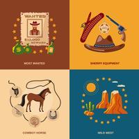 Cowboy-Symbole flach