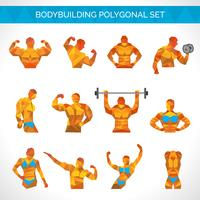 Bodybuilding veelhoekige Icons Set
