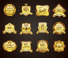 Golden sales labels icons collection