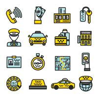 Conjunto de ícones de táxi