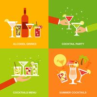 Alkohol Cocktails Icons Flat