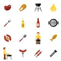 BBQ-grill pictogram plat