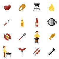 bbq grill icon flat