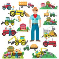 Tractor Driver Icons Set Flat