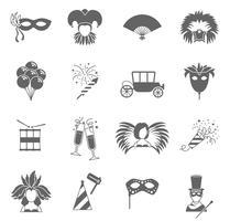 Conjunto de ícones de carnaval preto