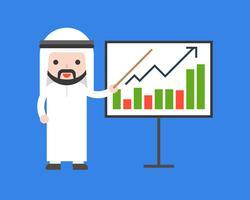 Gráfico de barras árabe lindo del presente del hombre de negocios, aumento de la renta de la compañía a bordo, concepto de la situación de negocio