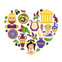 Greece symbols heart