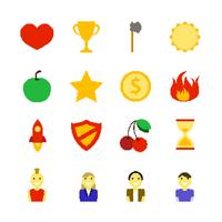 Retro Games Color Icons vector