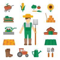 Agricultor terra ícones planas