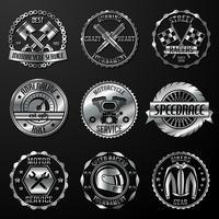 Emblemas de corrida metálicos
