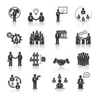 Bedrijfsmensen die geplaatste pictogrammen ontmoeten