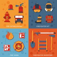 Conjunto plano de bombeiro