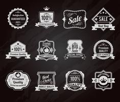 Chalkboard sales labels icons collection