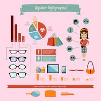 Hipster infographics elements set with geek girl