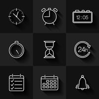 Set of contour date, time and calendar icons vector