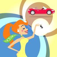 kvinna med bilnycklar