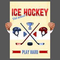 Cartel del hockey sobre hielo vector