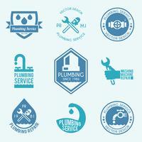 Sanitär-Etiketten-Icons gesetzt