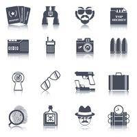 Spy gadgets black icons set