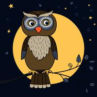 owl tree moon vector