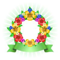 Tropical flowers wreath frame