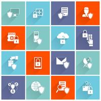 Icono de seguridad de la información plana