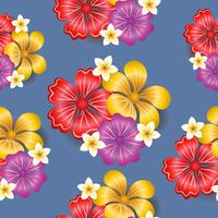 Tropical flowers seamless pattern background vector