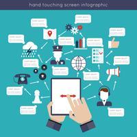 Mão, toque, tela infográficos