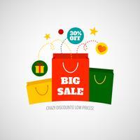 Vrouw winkelen verkoop pictogram plat