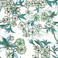 Seamless floral pattern with blossoming cherry or sakura