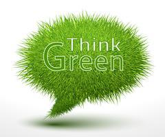 Denk groen concept op gras