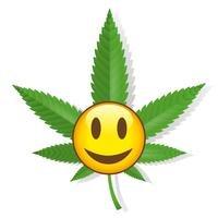 Smiling cannabis sign vector