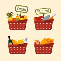 Shopping basket set with foods