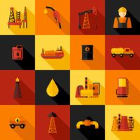 Oil Industry Icons Flat