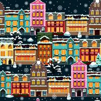Winter houses seamless night vector