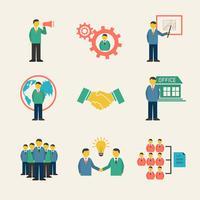 Conjunto de ícones de reunião de pessoas de negócios plana