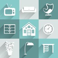 Interior furniture icons set