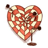 Target shaped heart with arrows emblem vector