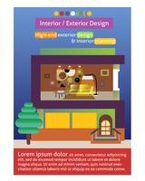 Modèle d'affiche de design intérieur et extérieur
