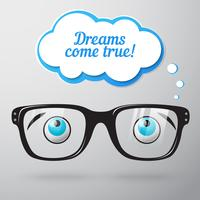 Glasses with eyes dreaming concept