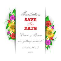 Tropical flowers invitation card template