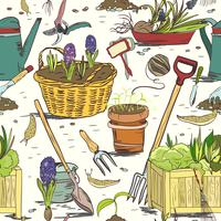Seamless gardening tools pattern background vector