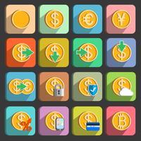 Symbole für elektronische Zahlungen und Transaktionen eingestellt
